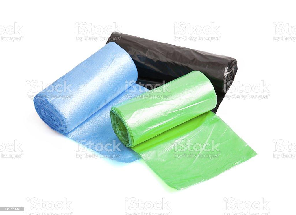 rubbish bags rolls stock photo