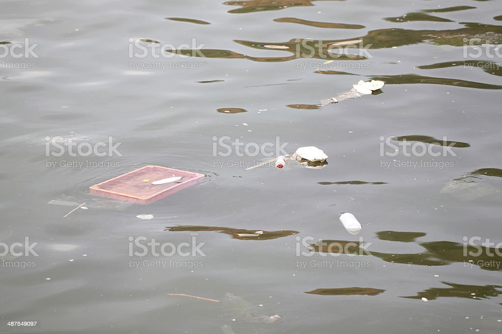 Rubbish floating in the sea. royalty-free stock photo
