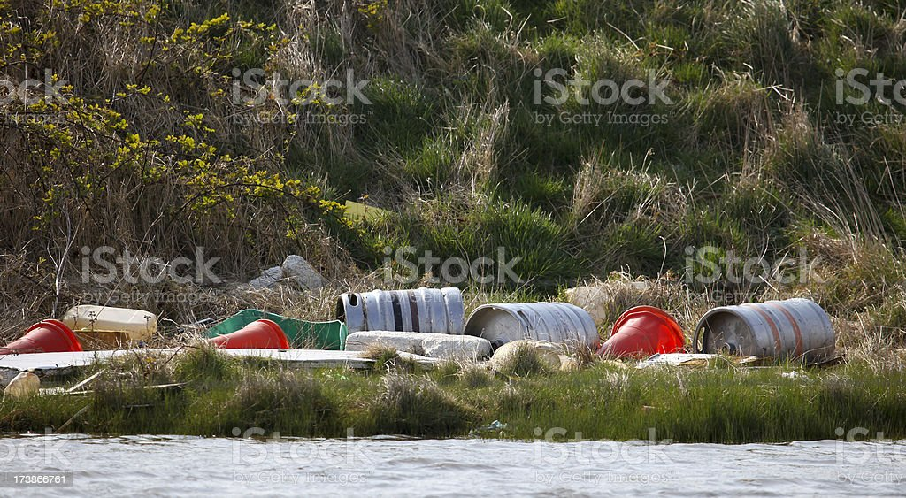 Rubbish fly tipped in the countryside royalty-free stock photo