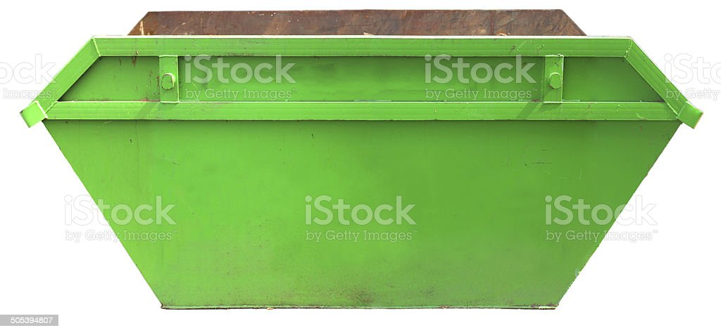 Rubbish Skip - builders construction site (with clipping path) stock photo