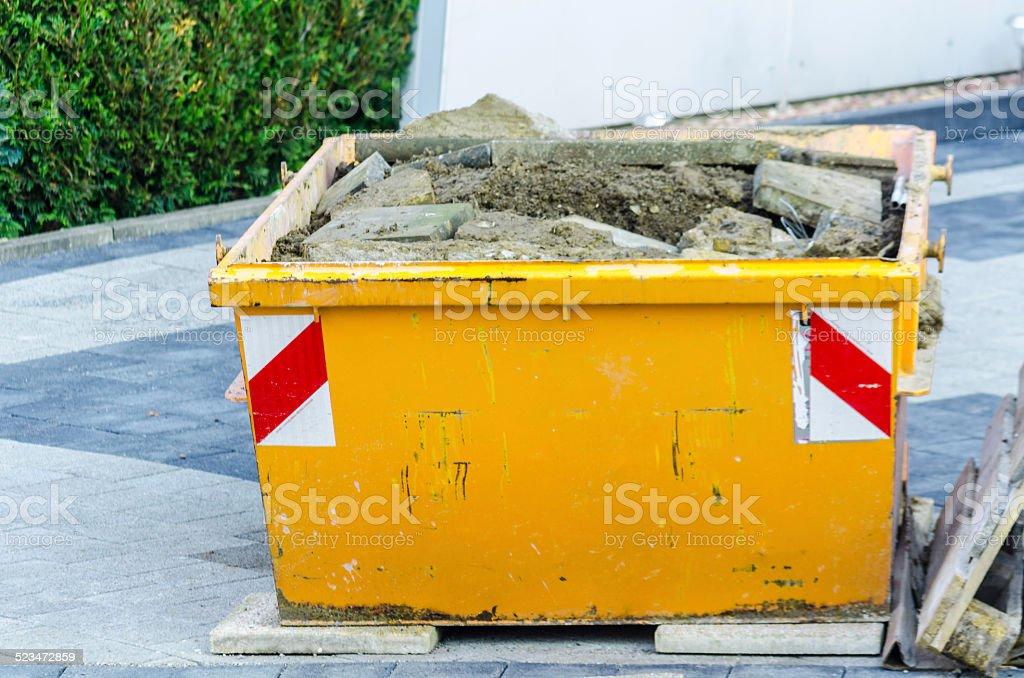 Rubbish Skip, Dumpster construction site stock photo