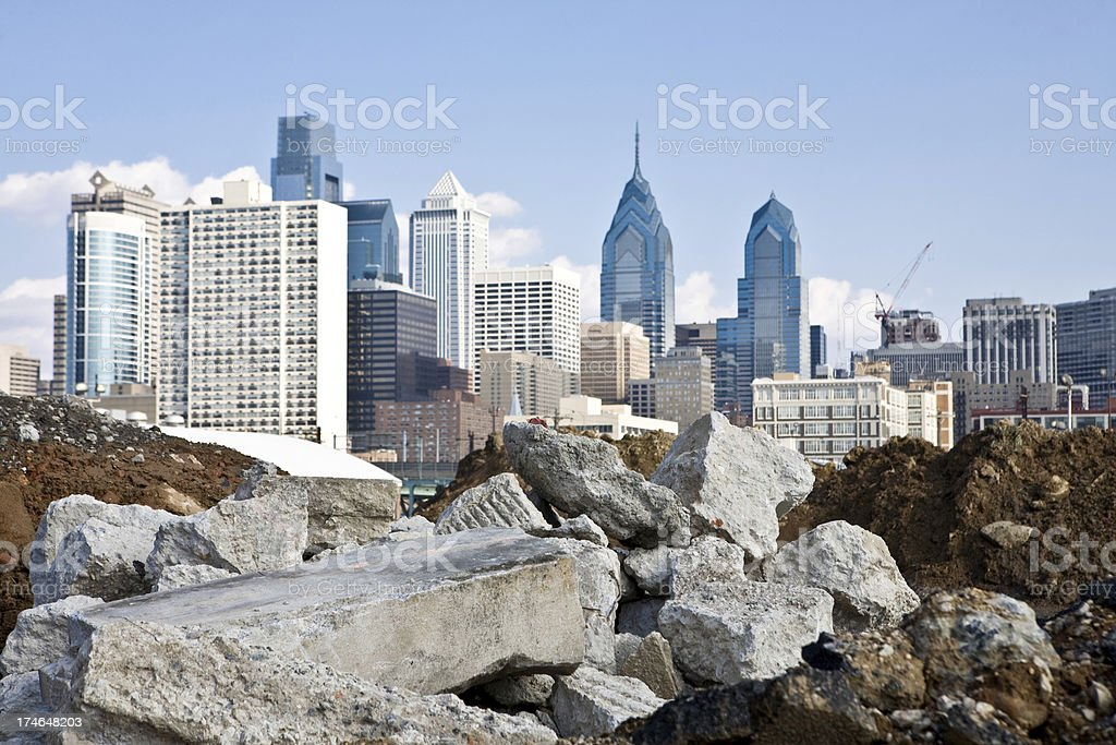 Rubble and City stock photo