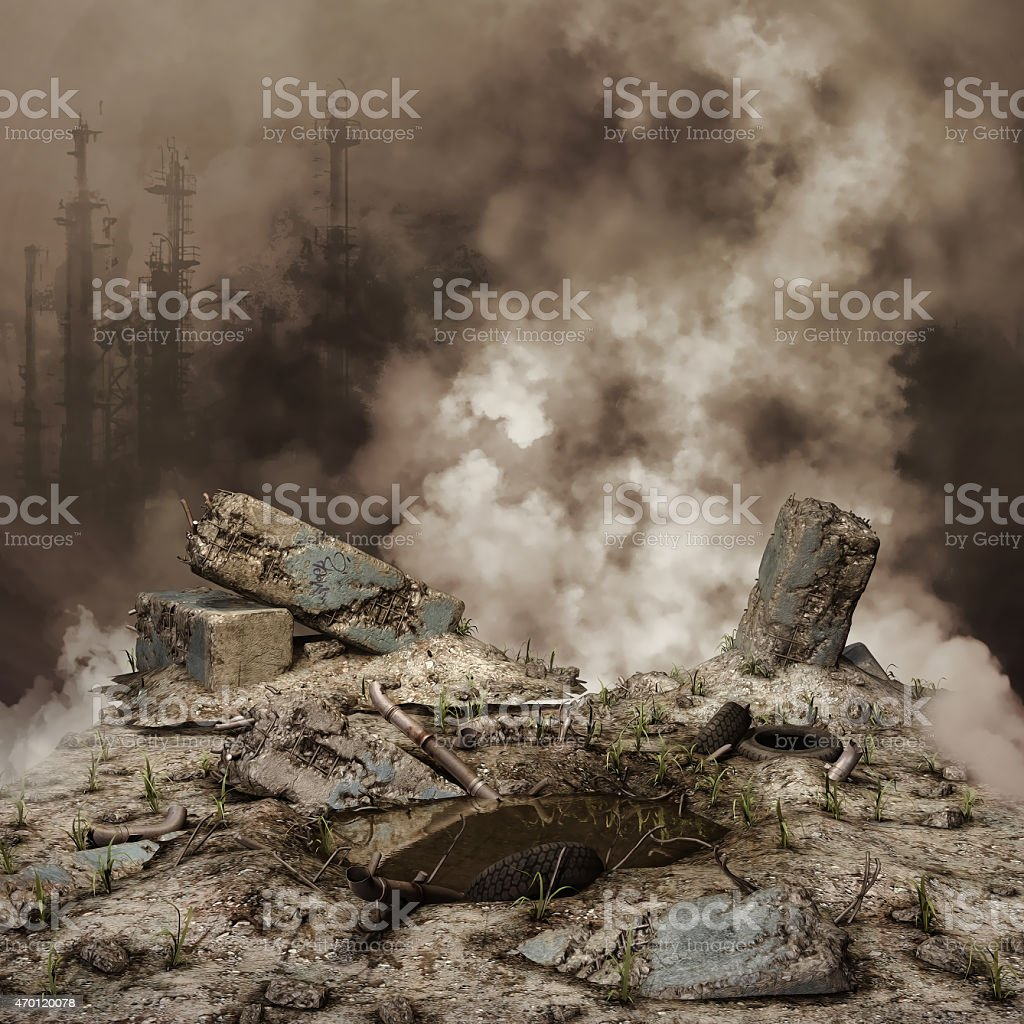Rubble and smoke stock photo