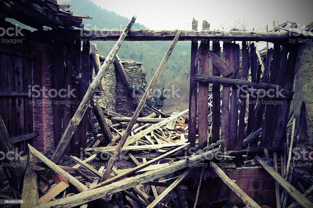 rubble and the ruins of the house destroyed stock photo
