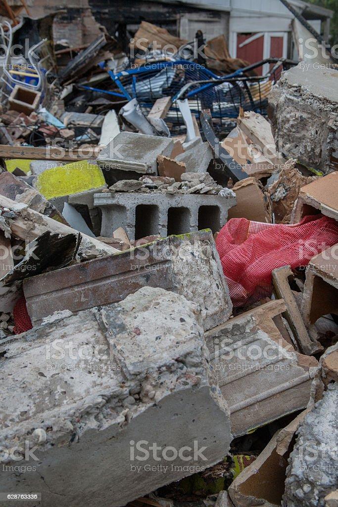 Rubble Debris Pile fire aftermath stock photo