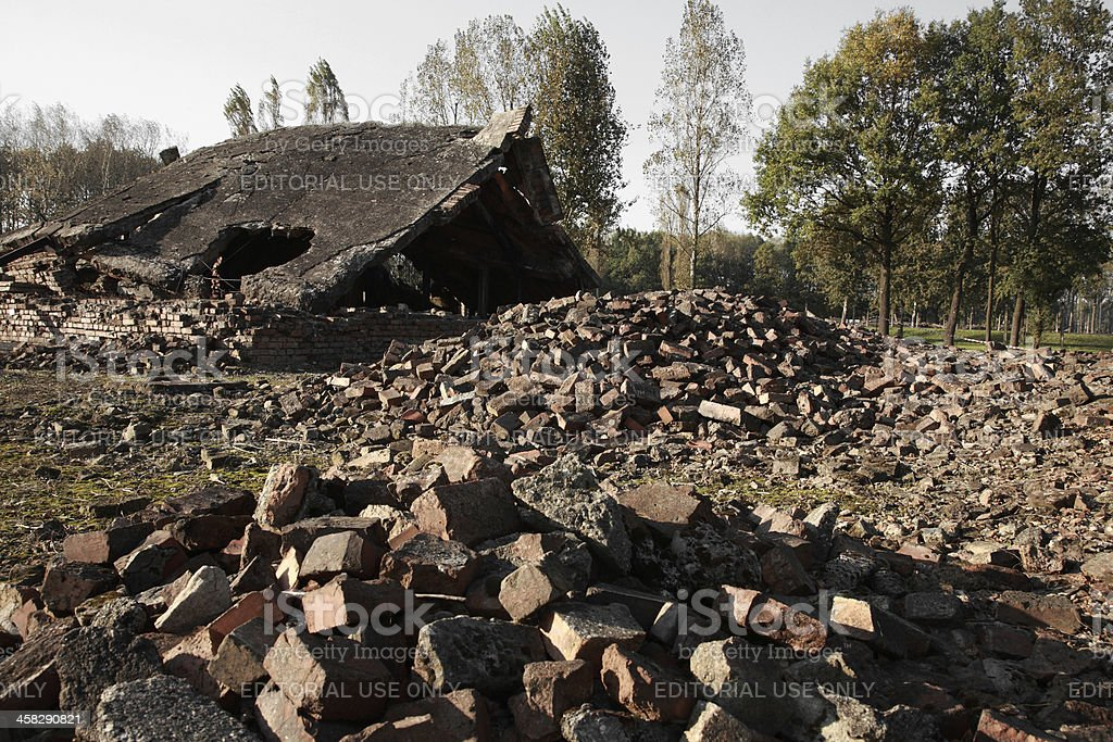 Rubble from the destroyed gas chambers at Auschwitz royalty-free stock photo