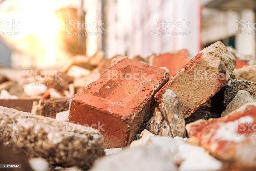 Rubble in container stock photo