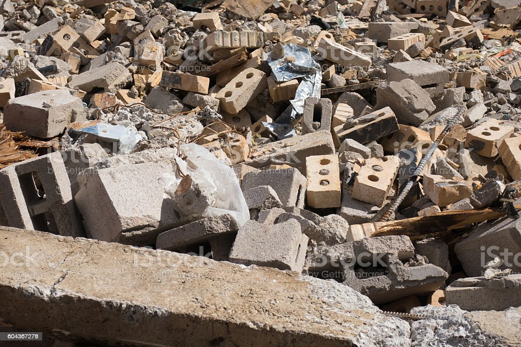 Rubble of a building stock photo