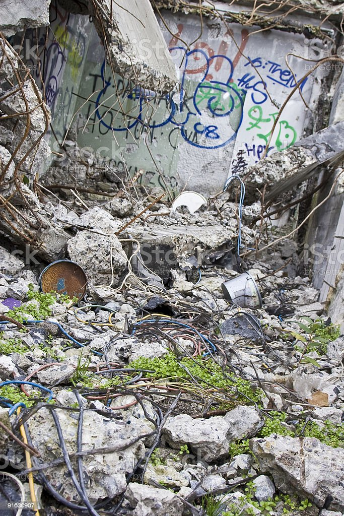 Rubble & wires royalty-free stock photo