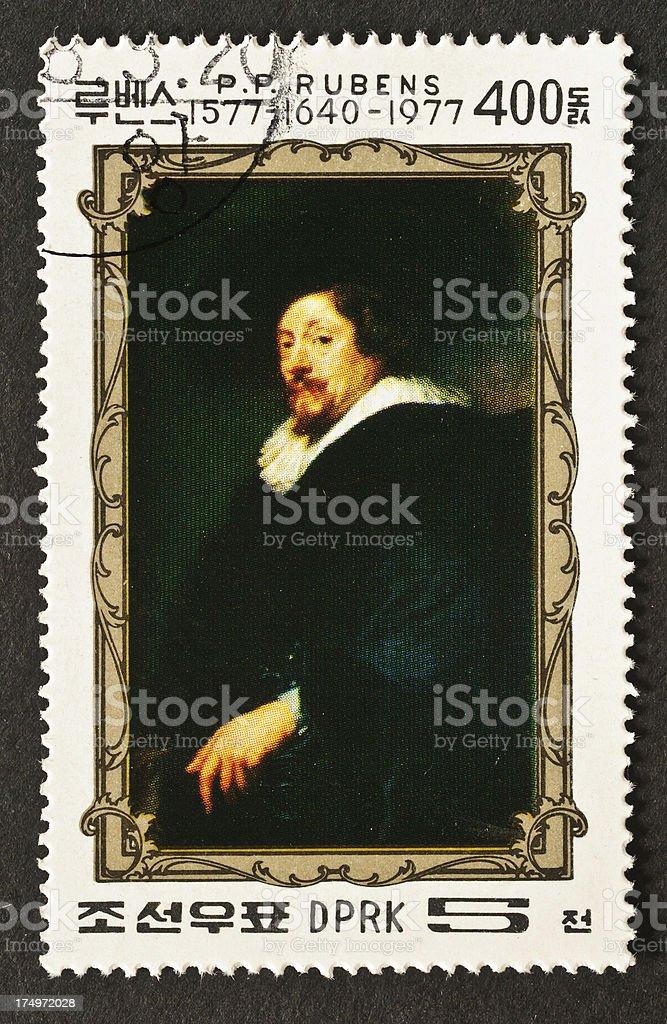 Rubens Self Portrait Stamp stock photo
