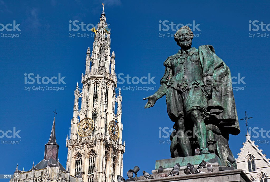 Rubens,Statue, Antwerp, Belgium stock photo