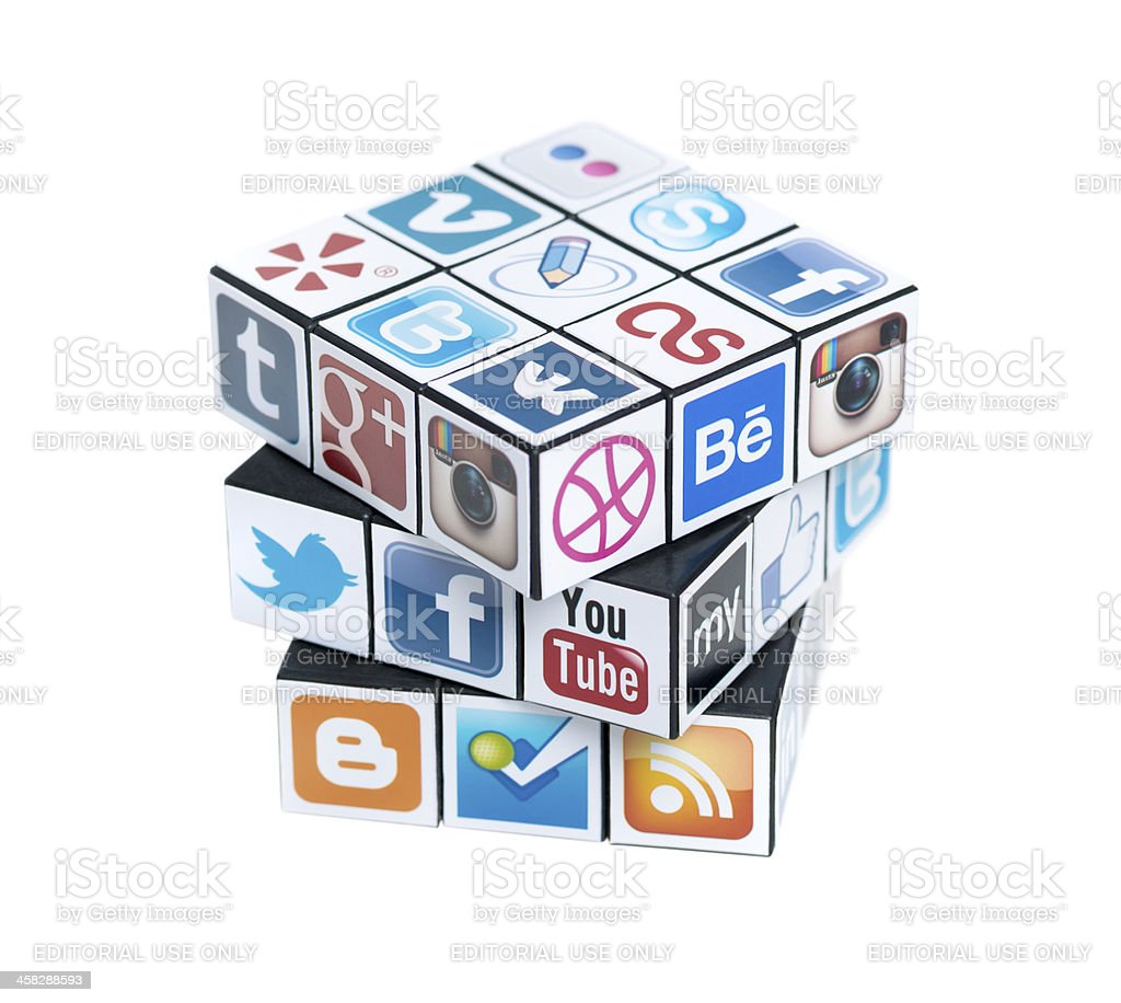 Rubick's Cube with social media logos royalty-free stock photo