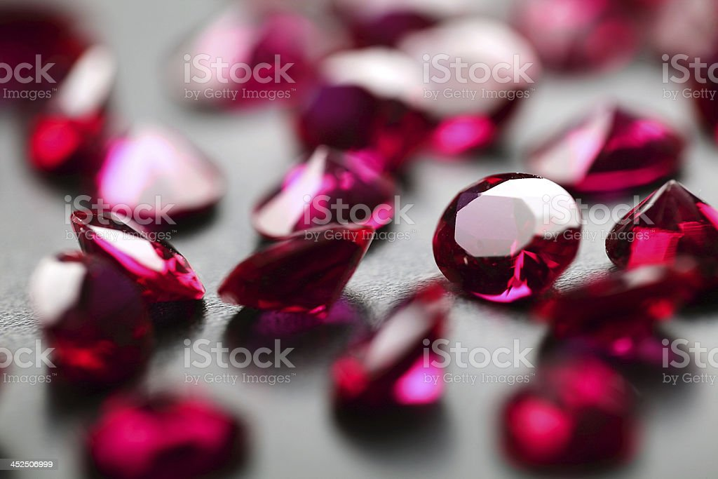 rubies close up stock photo