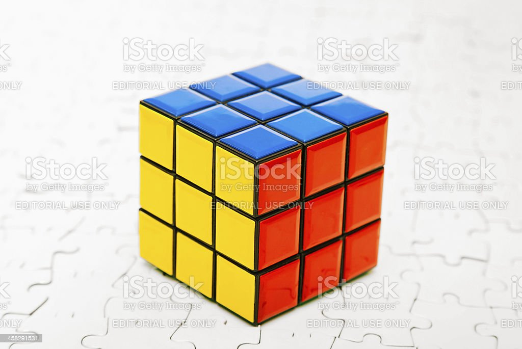 Rubik's Cube and Jigsaw Puzzle royalty-free stock photo