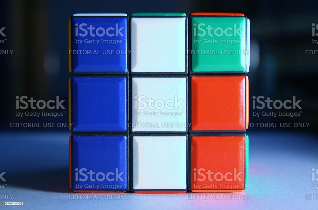 Rubik's cube forming france flag stock photo