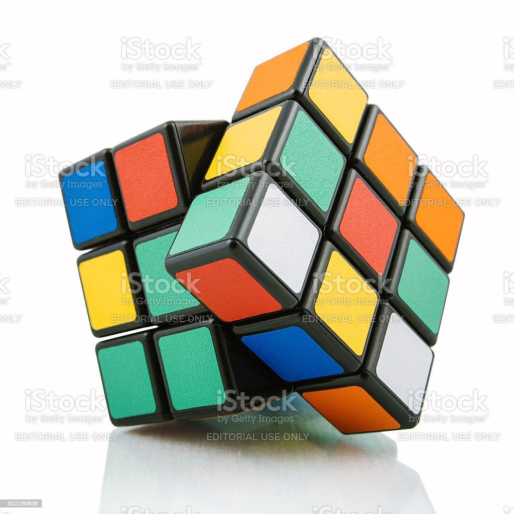 Rubik's cube on white background stock photo