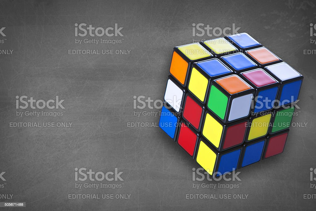 Rubik's cube with chalk board stock photo
