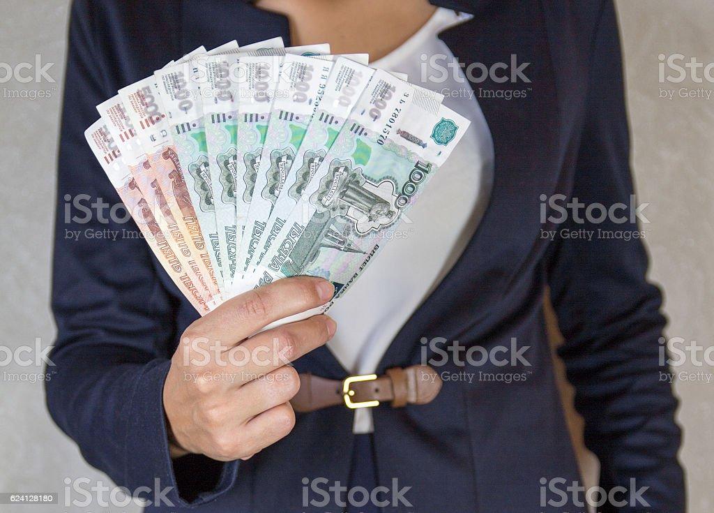 Ruble money in hand stock photo