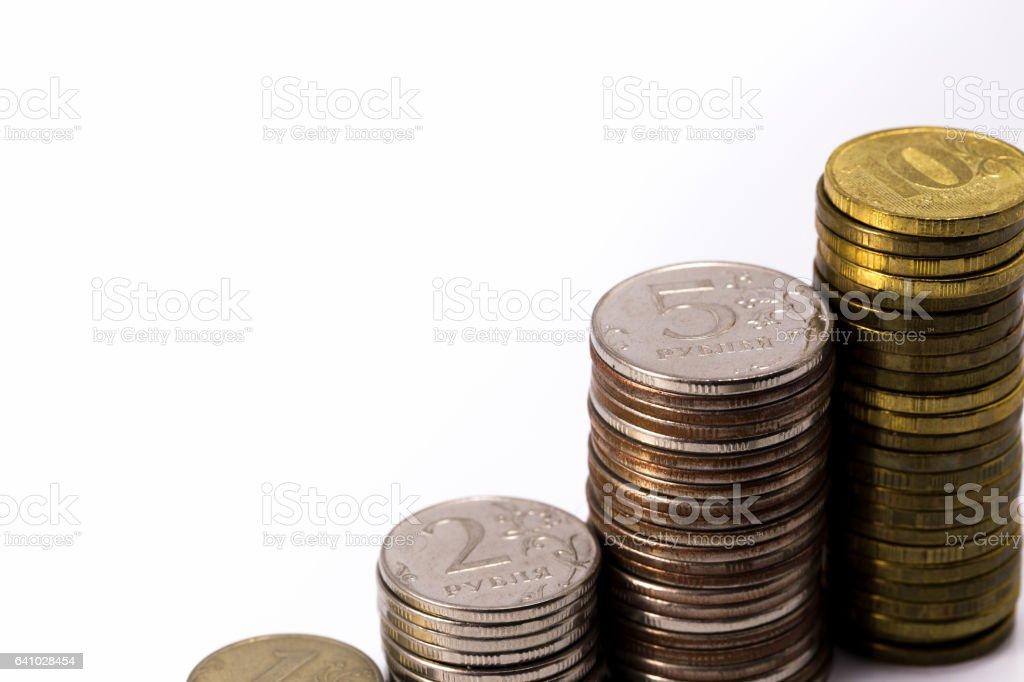 rubles pile stock photo