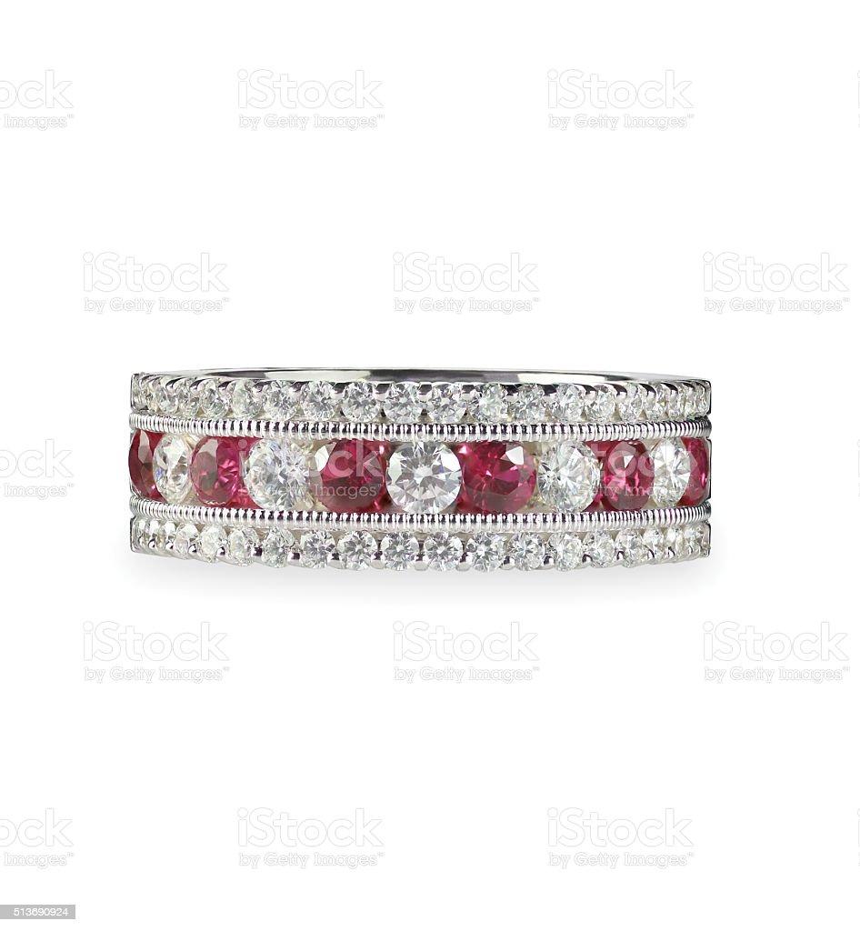 Ruby and diamond wedding anniversary band ring stock photo