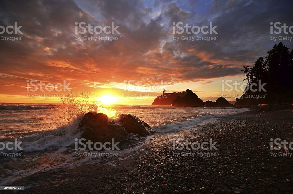 Ruby Beach Splash stock photo