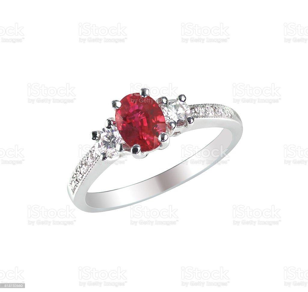 Ruby center stone diamond ring stock photo