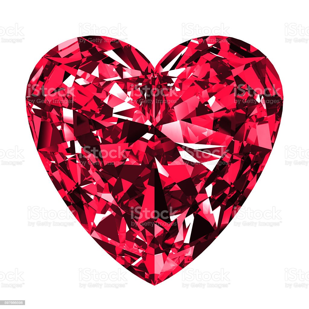 Ruby Heart Over White Background. stock photo