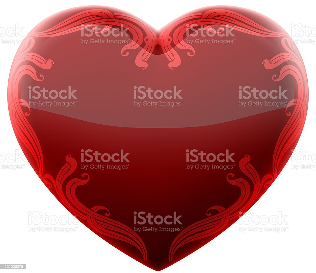 Ruby heart with ornament royalty-free stock photo