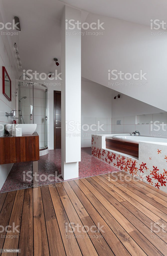 Ruby house - ceramic and wooden bathroom royalty-free stock photo