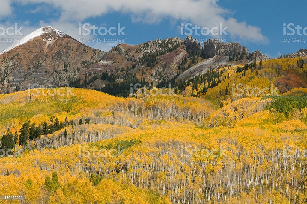 Ruby Mountain with Aspen Grove by Kebler Pass stock photo