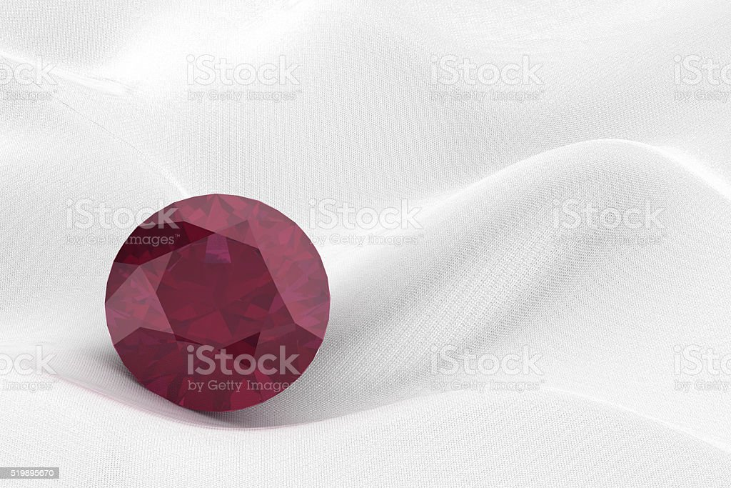 ruby on white background (high resolution 3D image) stock photo
