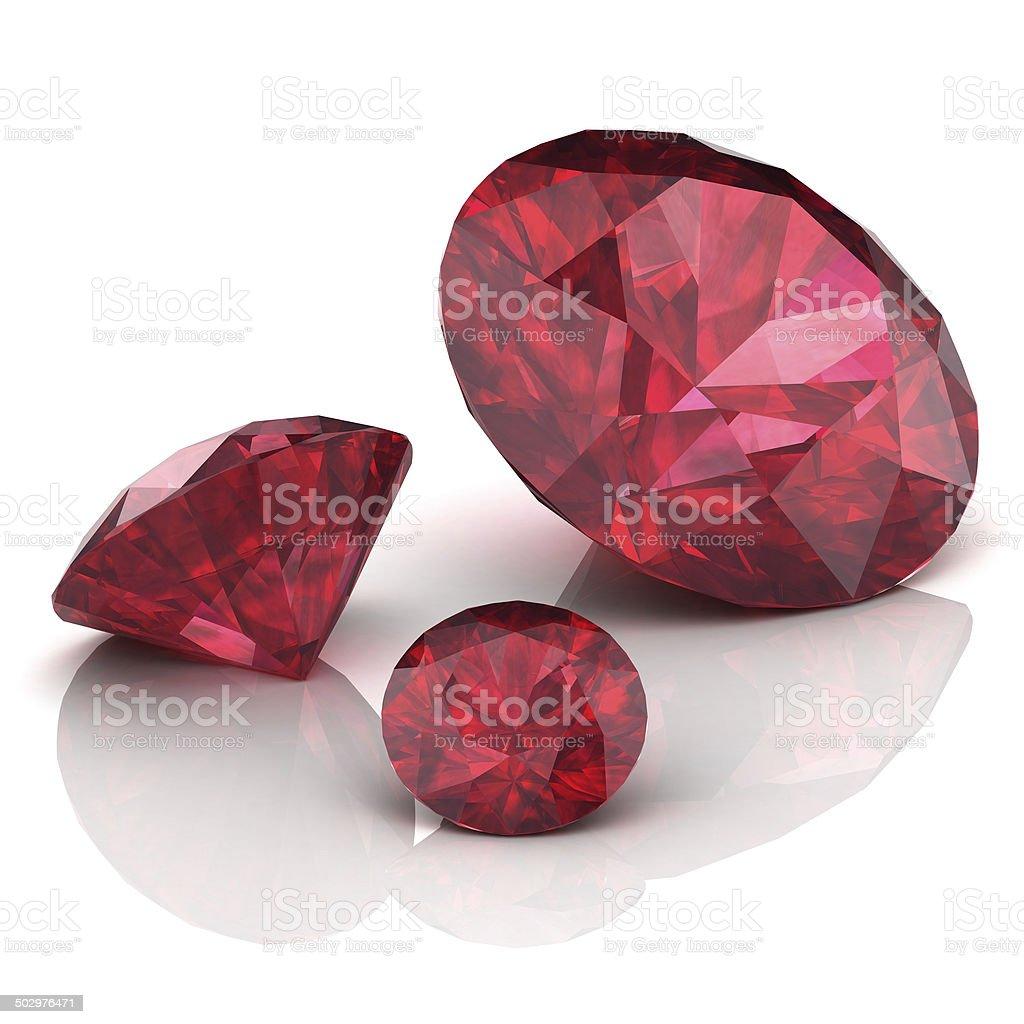 Ruby or Rodolite gemstone on white background stock photo