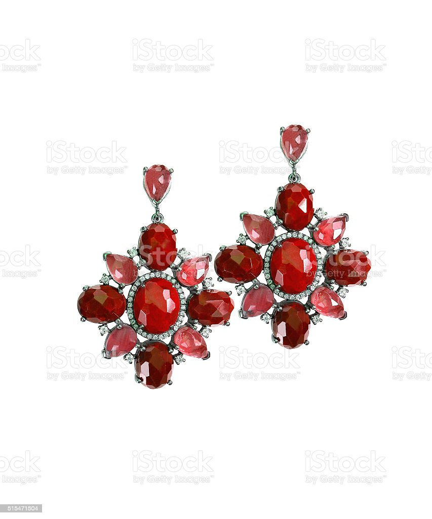 Ruby Red dangle drop gemstone earrings stock photo