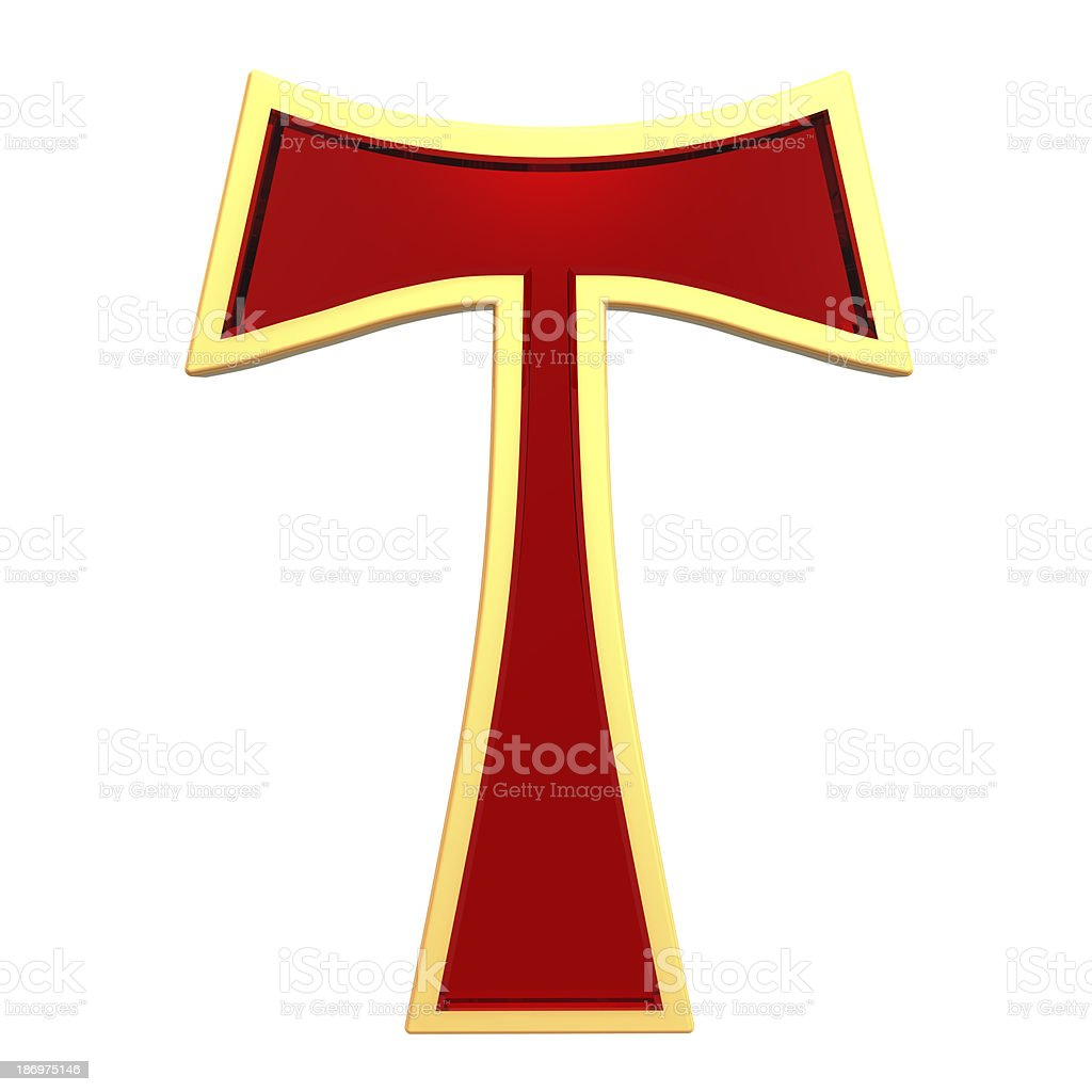 Ruby Tau cross isolated on white. stock photo