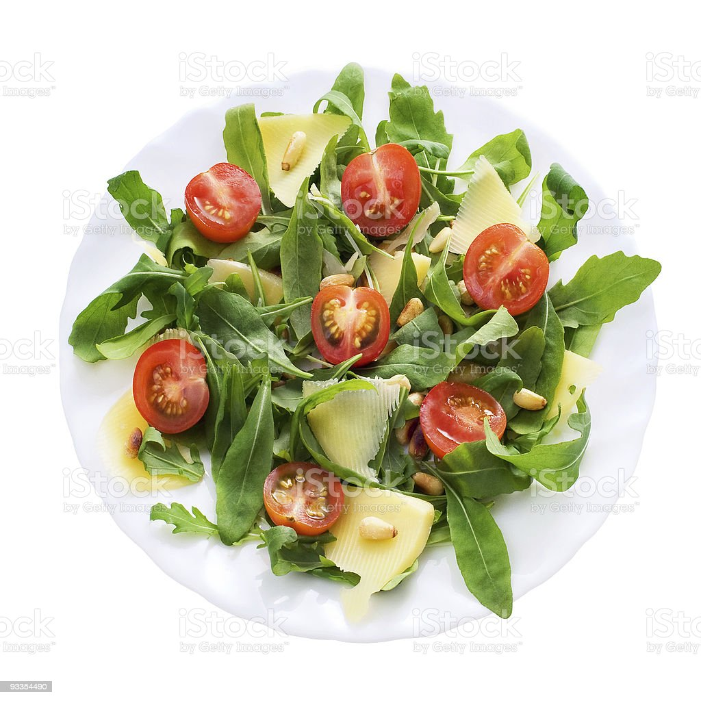Ruccola salad from above, clipping path royalty-free stock photo