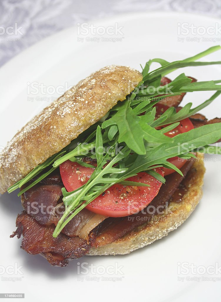 Rucola eggy bread Blt royalty-free stock photo