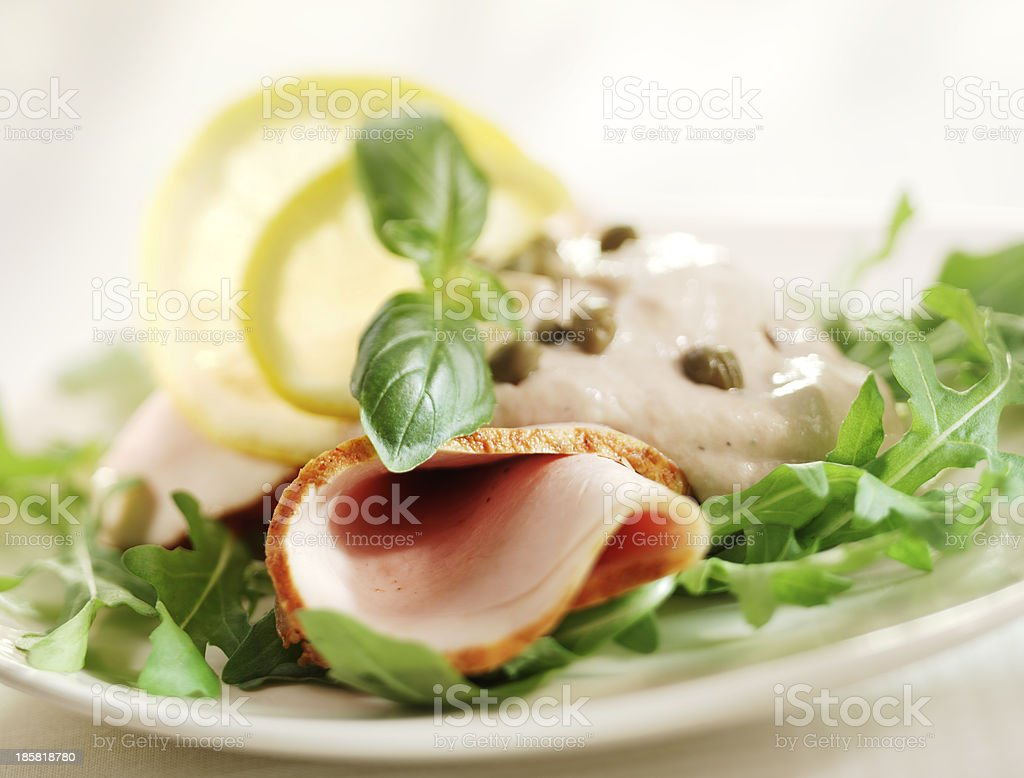 rucola salad with ham and sauce royalty-free stock photo