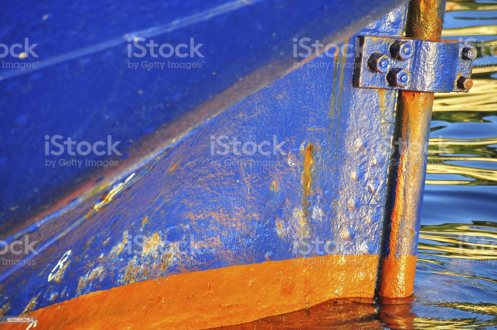 rudder sleeve and keel on boat stock photo