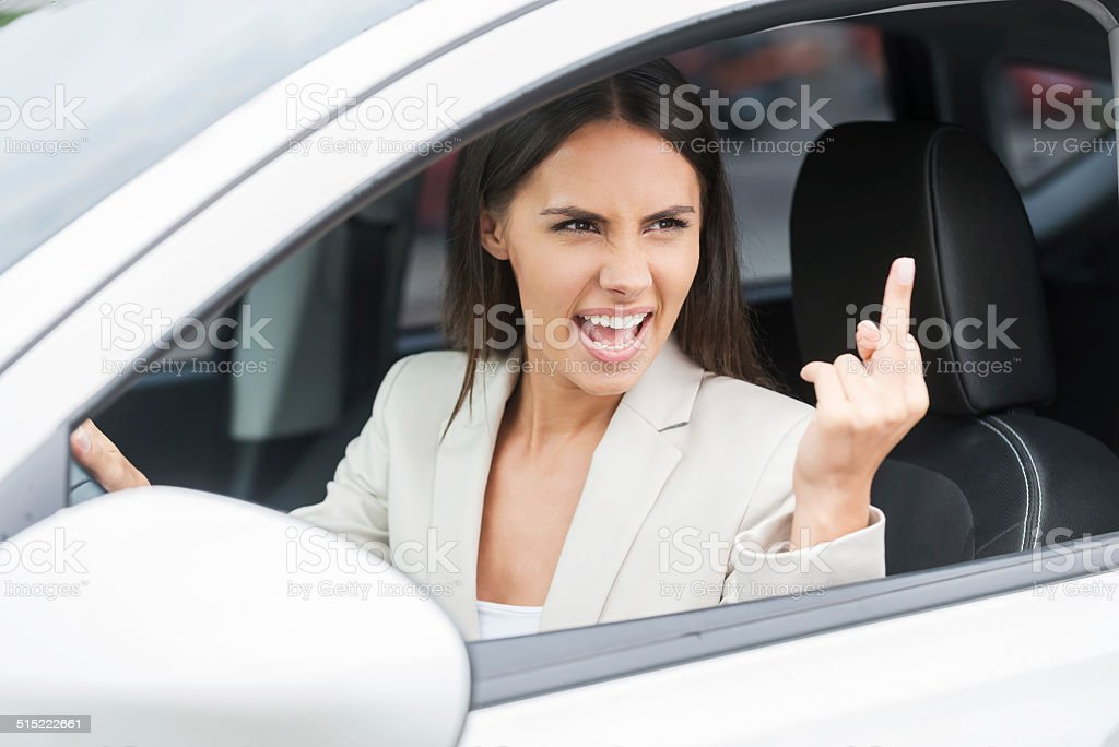 Rude driver. stock photo