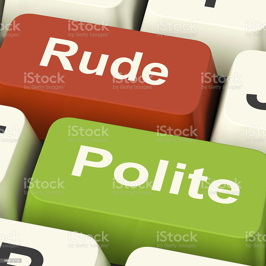 Rude Polite Keys Means Good Bad Manners stock photo
