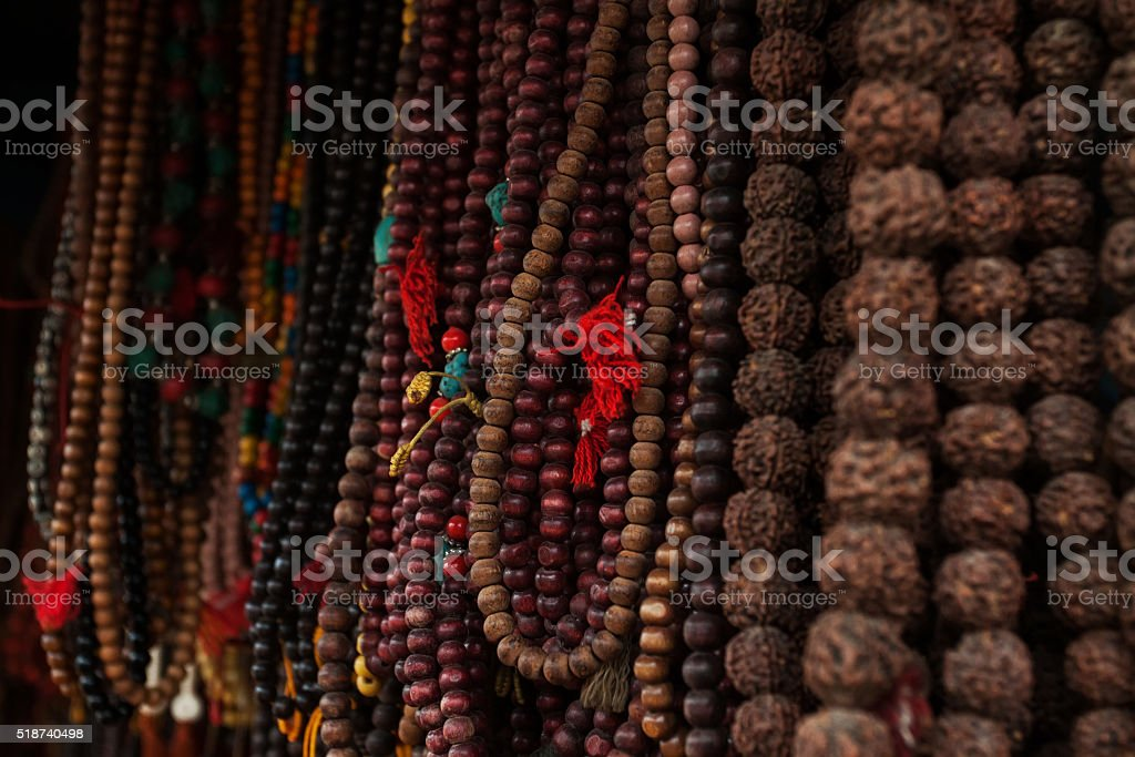 Rudraksha mala prayer beads stock photo