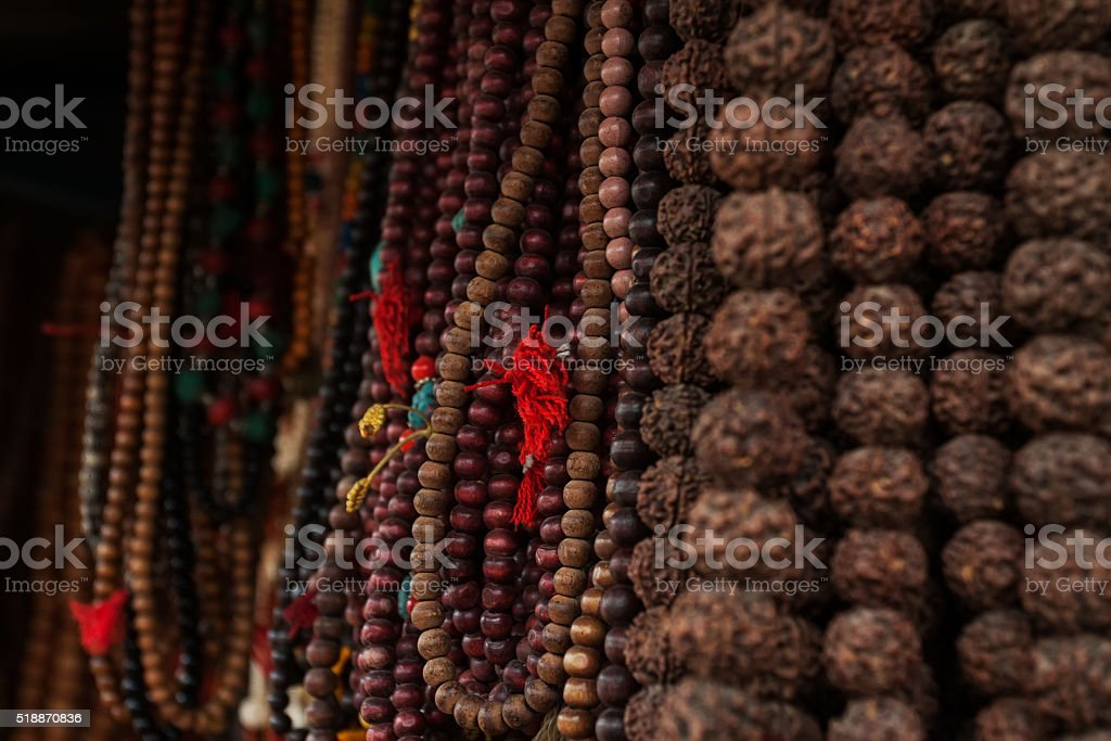 Rudraksha mala prayer beads stock photo