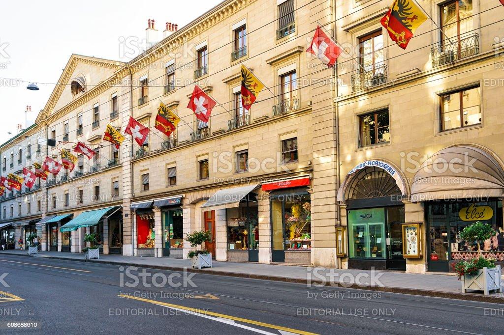 Rue Corraterie Street with flags Geneva Swiss stock photo