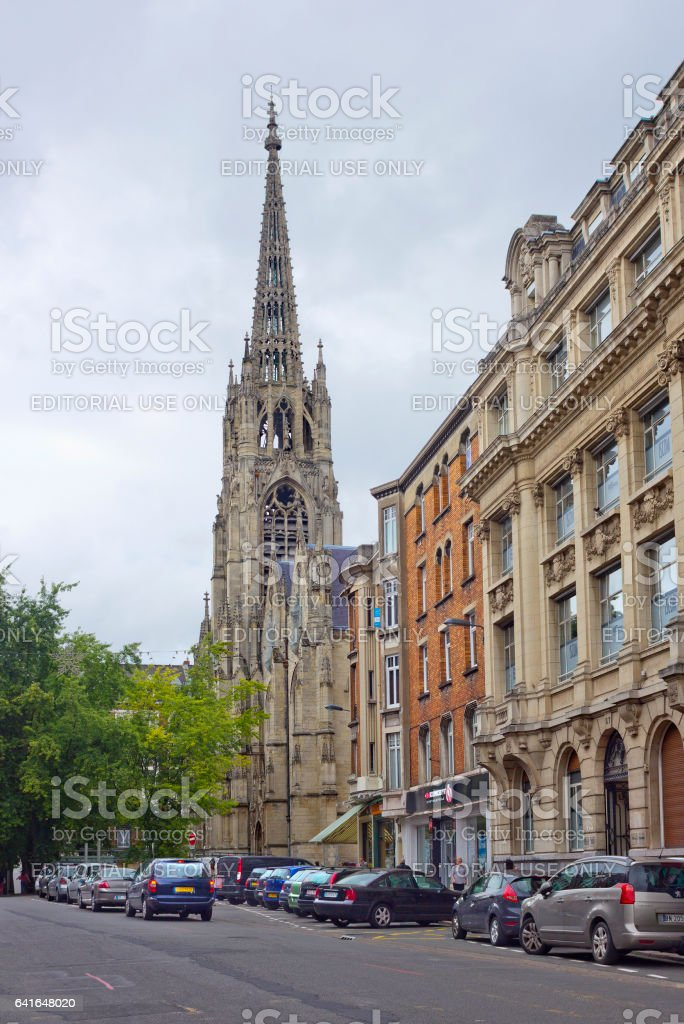 Rue de Paris with Saint-Maurice church in Lille, France stock photo