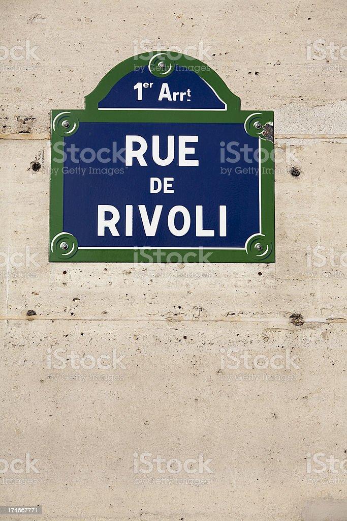 Rue de Rivoli Paris Street Sign royalty-free stock photo