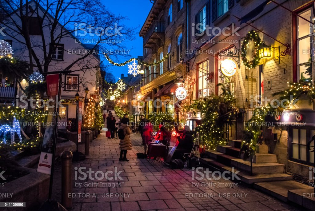 Rue du Petit-Champlain at Lower Old Town (Basse-Ville) at night stock photo