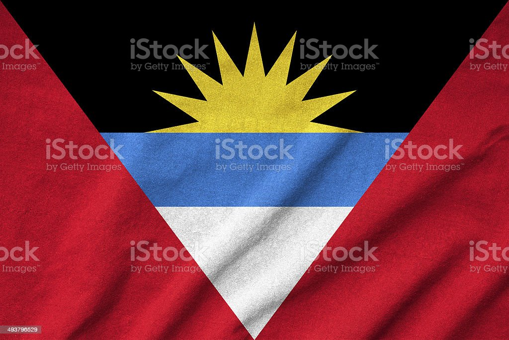 Ruffled Antigua and Barbuda Flag stock photo