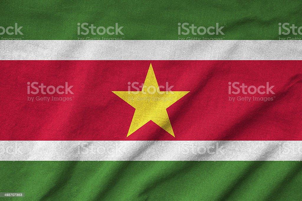 Ruffled Suriname Flag stock photo