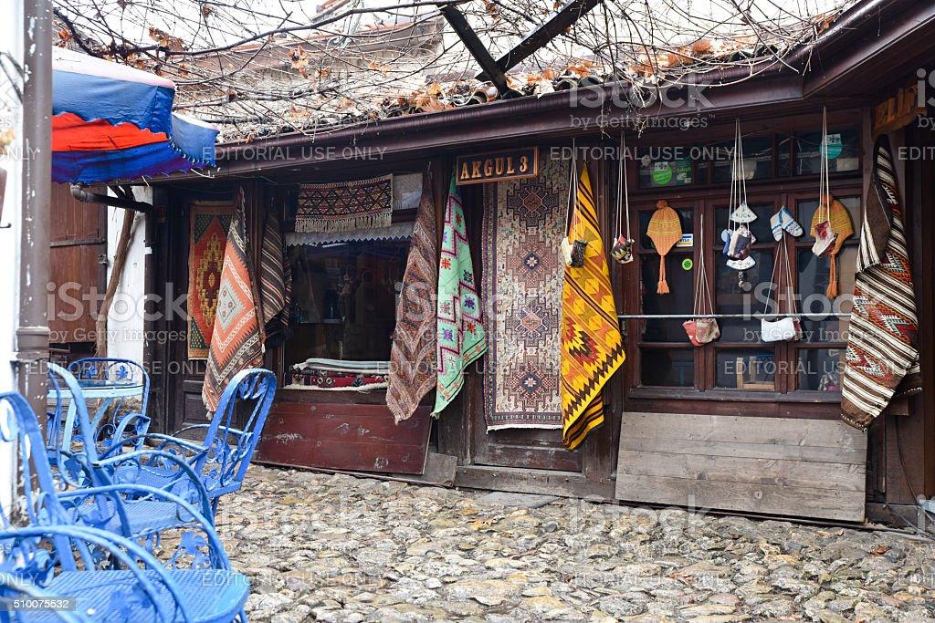 Rug Store at Safranbulu Turkey stock photo