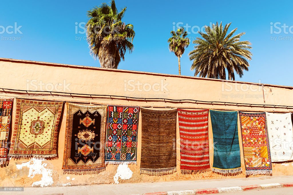 Rug Street Shop at Fez Medina, Morocco stock photo
